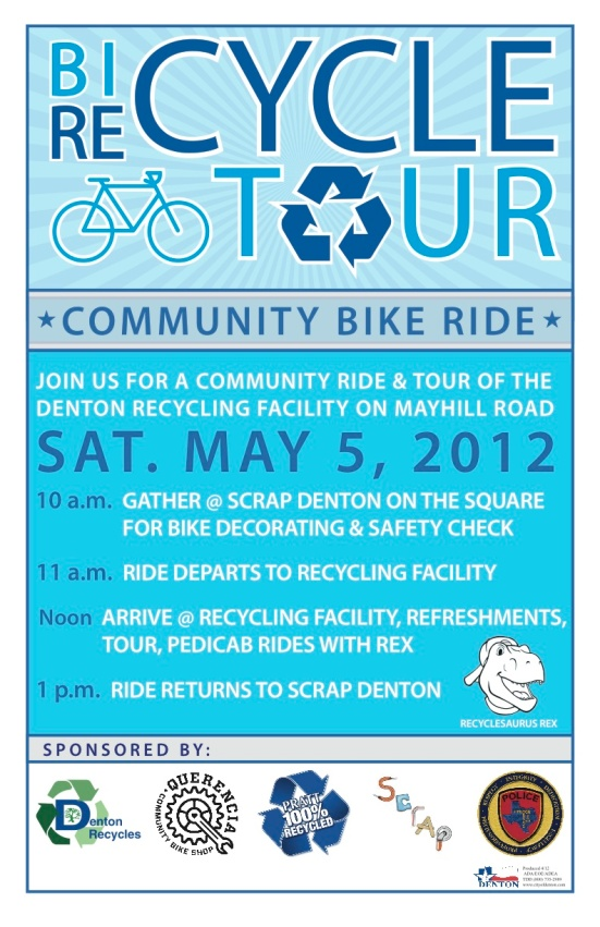 poster advertising group bike ride to Denton's Recycling facility for a tour